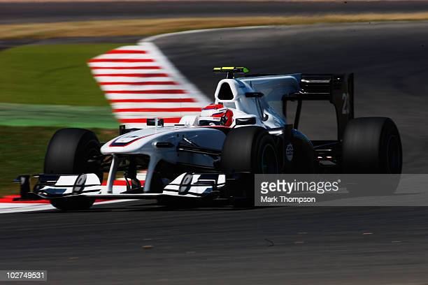 Kamui Kobayashi of Japan and BMW Sauber drives during practice for the British Formula One Grand Prix at Silverstone on June 9 in Northampton England