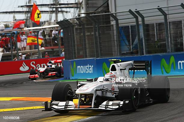 Kamui Kobayashi of Japan and BMW Sauber drives during the European Formula One Grand Prix at the Valencia Street Circuit on July 27 in Valencia Spain