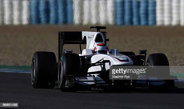 Kamui Kobayashi of Japan and BMW Sauber drives during winter testing at the Circuito De Jerez on February 19 2010 in Jerez de la Frontera Spain