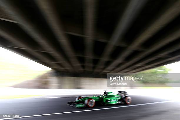 Kamui Kobayashi of Japan and Caterham drives during final practice for the Japanese Formula One Grand Prix at Suzuka Circuit on October 4 2014 in...