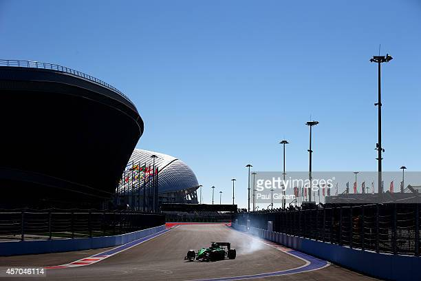 Kamui Kobayashi of Japan and Caterham drives during final practice ahead of the Russian Formula One Grand Prix at Sochi Autodrom on October 11 2014...