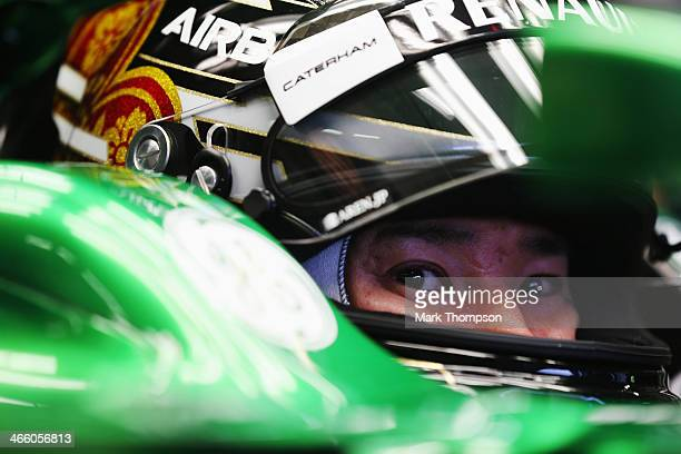Kamui Kobayashi of Japan and Caterham prepares to drive the new CT05 during day four of Formula One Winter Testing at the Circuito de Jerez on...