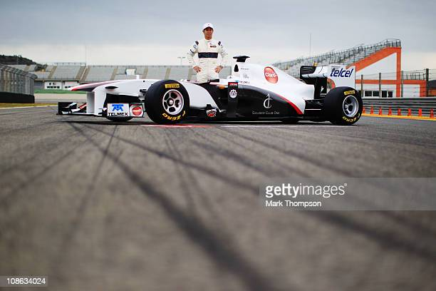 Kamui Kobayashi of Japan and Sauber F1 attends the unveiling of the new Sauber C30Ferrari at the Ricardo Tormo Circuit on January 31 2011 in Valencia...