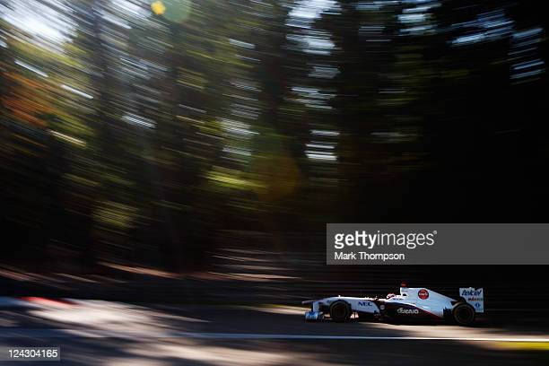 Kamui Kobayashi of Japan and Sauber F1 drives during practice for the Italian Formula One Grand Prix at the Autodromo Nazionale di Monza on September...