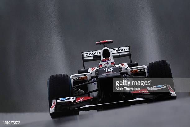 Kamui Kobayashi of Japan and Sauber F1 drives during practice for the Belgian Grand Prix at the Circuit of Spa Francorchamps on August 31 2012 in Spa...