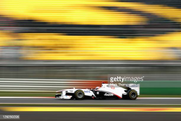 Kamui Kobayashi of Japan and Sauber F1 drives during the final practice session prior to qualifying for the Korean Formula One Grand Prix at the...