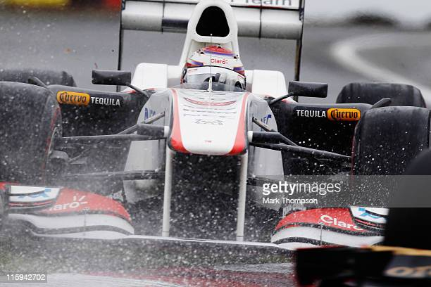 Kamui Kobayashi of Japan and Sauber F1 rides the kerbs heavily during the Canadian Formula One Grand Prix at the Circuit Gilles Villeneuve on June 12...