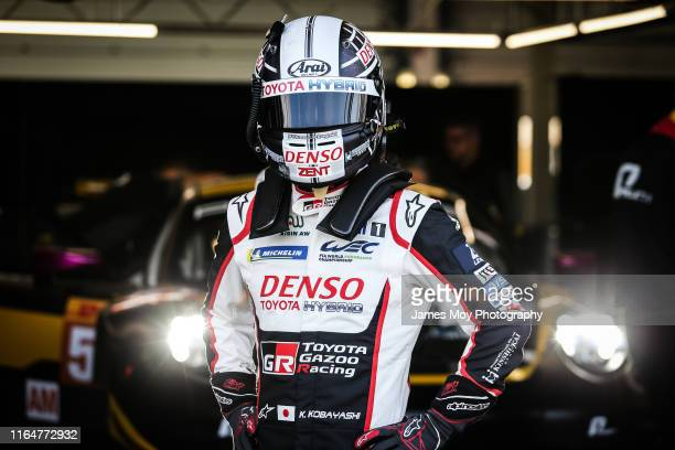 Kamui Kobayashi of Japan and Toyota Gazoo Racing in the pits during the World Endurance Championship on August 30 2019 in Northampton England