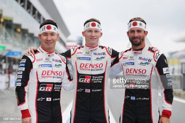 Kamui Kobayashi of Japan and Toyota Gazoo Racing Mike Conway of Great Britain and Toyota Gazoo Racing and Jose Maria Lopez of Argentina and Toyota...