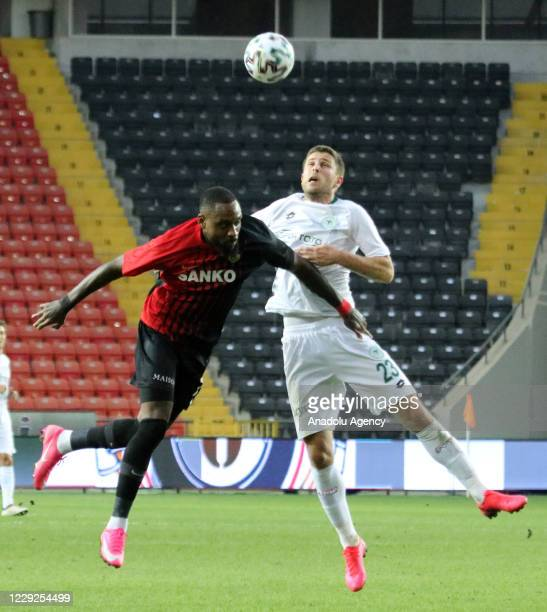 Kana Biyik of Gaziantep FK in action against Kravets of Ittifak Holding Konyaspor during Turkish Super Lig match between Gaziantep FK and Ittifak...
