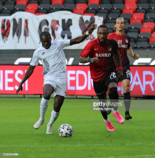 Kana Biyik of Gaziantep FK in action against Miya of Ittifak Holding Konyaspor during Turkish Super Lig match between Gaziantep FK and Ittifak...