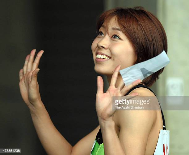 Kana Ichikawa celebrates after winning the Women's 200m final during day one of the East Japan Industrial Athletic Championships at Kumagaya Athletic...