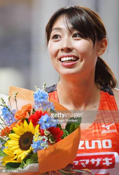 Kana Ichikawa celebrates winning the Women's 100m final during day two of the 101st JAAF Athletics Championships at Yanmar Stadium Nagai on June 24...