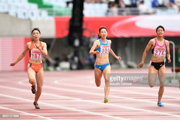Kana Ichikawa Chisato Fukushima and Mizuki Nakamura of Japan compete in the Women 200m final during the 101st Japan National Championships at Yanmar...