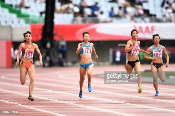 Kana Ichikawa Chisato Fukushima Mizuki Nakamura and Yukina Shimada of Japan compete in the Women 200m final during the 101st Japan National...