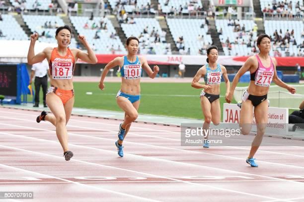 Kana Ichikawa Chisato Fukushima Yukina Shimada and Mizuki Nakamura of Japan compete in the Women 200m final during the 101st Japan National...