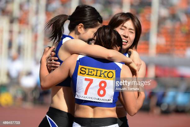 Kana Ichikawa of Japan and her team mates celebrate after Women's 4 x 100m Relay Final during the Seiko Golden Grand Prix Tokyo 2014 at National...