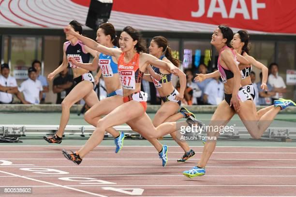 Kana Ichikawa of Japan celebrates as she cross the goal line in the Women 100m final during the 101st Japan National Championships at Yanmar Stadium...
