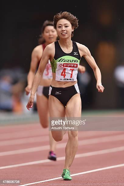 Kana Ichikawa of Japan competes in the Women's 200 metres qualification during the 99th Japan Athletics National Championships at Denka Big Swan...