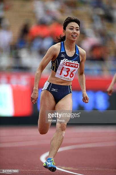 Kana Ichikawa of Japan competes in Women's 200m First Round during the 100th Japan National Athletic Championships at the Mizuho Athletic Stadium on...