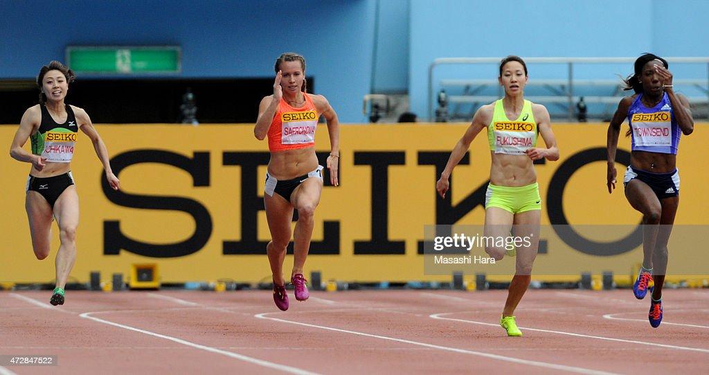 Kana Ichikawa, Olga Safronova, Chisato Fukushima and Tiffany Tounsend compete in the 200m during the Seiko Golden Grand Prix Tokyo 2015 at Todoroki Stadium on May 10, 2015 in Kawasaki, Japan.
