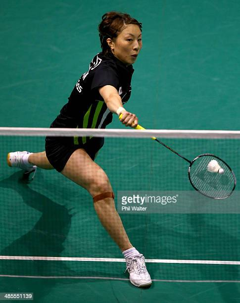 Kana Ito of Japan plays a backhand against Nozomi Okuhara of Japan in the womens final of the 2014 New Zealand Open at the North Shore Events Centre...