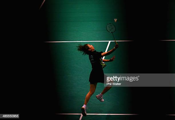 Kana Ito of Japan plays a forehand against Nozomi Okuhara of Japan in the womens final of the 2014 New Zealand Open at the North Shore Events Centre...