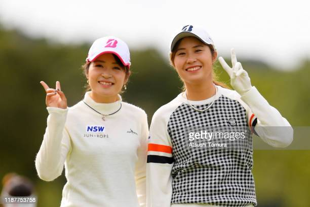 Kana Mikashima and Momoko Osato of Japan pose on the 9th hole during the first round of the ItoEn Ladies at Great Island Club on November 15 2019 in...