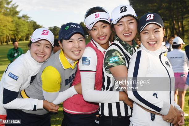 Kana Mikashima Megumi Takahashi Shiho Kawasaki Mei Takagi and Saki Inoue of Japan smile during the first round of the KKT Cup Vantelin Ladies Open at...