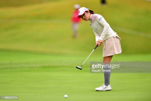 Kana Mikashima of Japan attempts a putt on the 10th green during the second round of the Nobuta Group Masters GC Ladies at Masters Golf Club on...