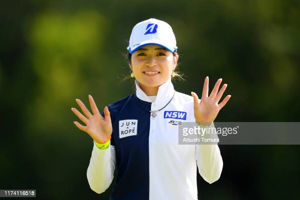Kana Mikashima of Japan celebrates the birdie with the caddie on the 10th green during the first round of the 52nd LPGA Championship Konica Minolta...
