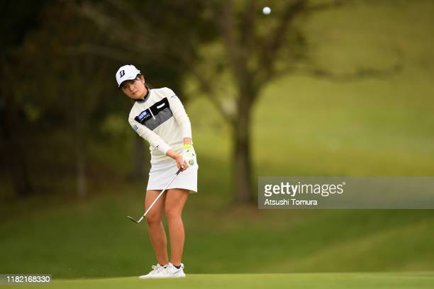 Kana Mikashima of Japan chips onto the 7th green during the final round of Fujitsu Ladies at Tokyu Seven Hundred Club on October 20 2019 in Chiba...