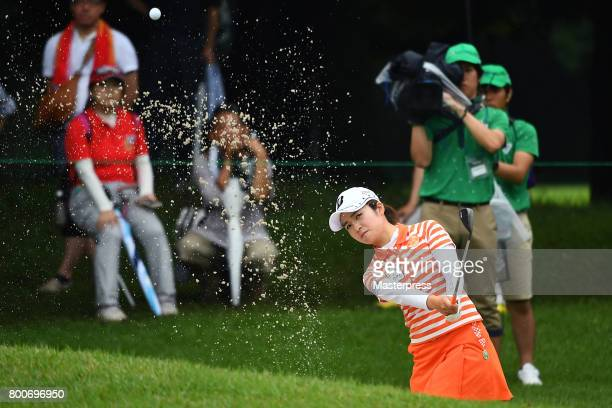 Kana Mikashima of Japan chips onto the green during the final round of the Earth Mondamin Cup at the Camellia Hills Country Club on June 25 2017 in...
