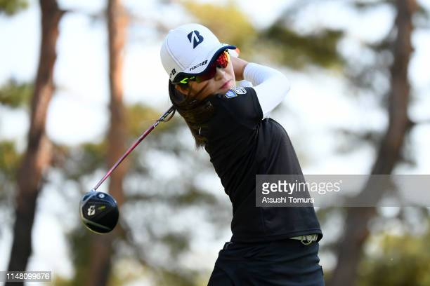 Kana Mikashima of Japan hits a tee shot on the 12th hole during the second round of the World Ladies Championship Salonpas Cup at Ibaraki Golf Club...