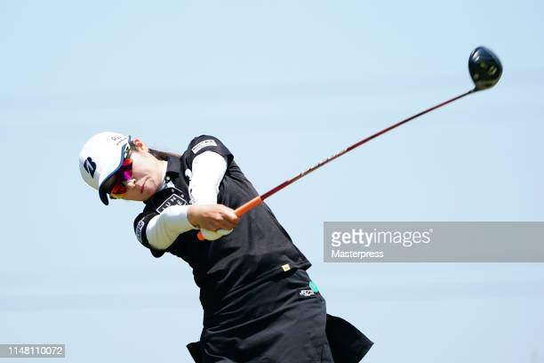 Kana Mikashima of Japan hits a tee shot on the 4th hole during the second round of the World Ladies Championship Salonpas Cup at Ibaraki Golf Club...