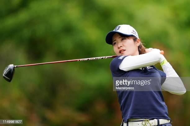 Kana Mikashima of Japan hits a tee shot on the 8th hole during the second round of the HokennoMadoguchi Ladies at Fukuoka Country Club Wajiro Course...