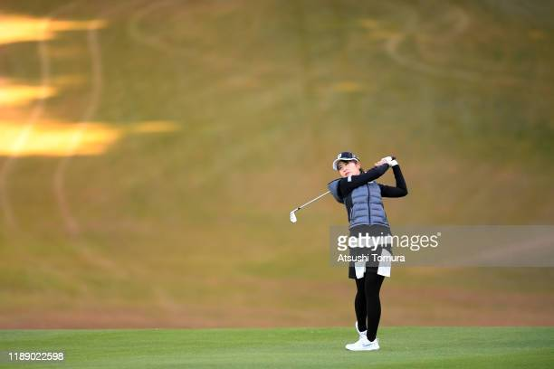 Kana Mikashima of Japan hits her second shot on the 13th hole during the first round of the Daio Paper Elleair Ladies at Elleair Golf Club Matsuyama...