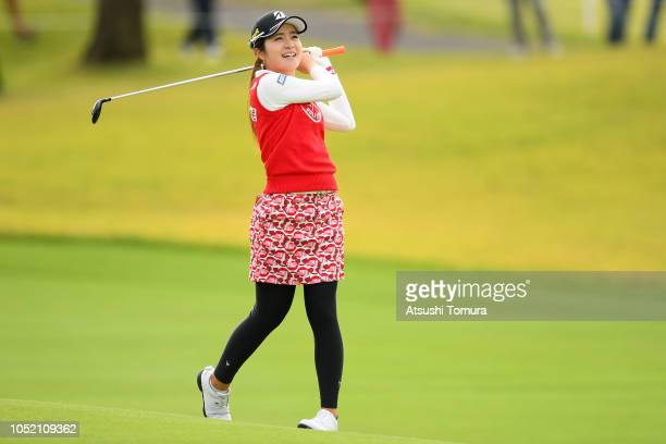 Kana Mikashima of Japan hits her second shot on the 18th hole during the final round of the Fujitsu Ladies at Tokyu Seven Hundred Club on October 14...