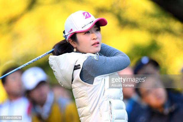Kana Mikashima of Japan hits her tee shot on the 10th hole during the third round of the Daio Paper Elleair Ladies at Elleair Golf Club Matsuyama on...