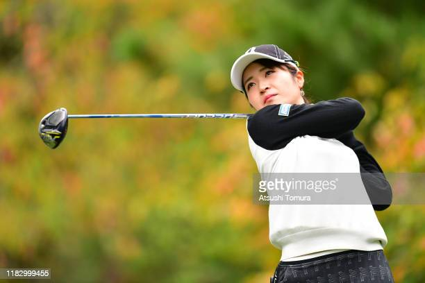 Kana Mikashima of Japan hits her tee shot on the 12th hole during the first round of the Nobuta Group Masters GC Ladies at Masters Golf Club on...
