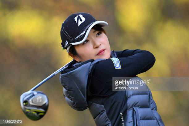 Kana Mikashima of Japan hits her tee shot on the 13th hole during the first round of the Daio Paper Elleair Ladies at Elleair Golf Club Matsuyama on...