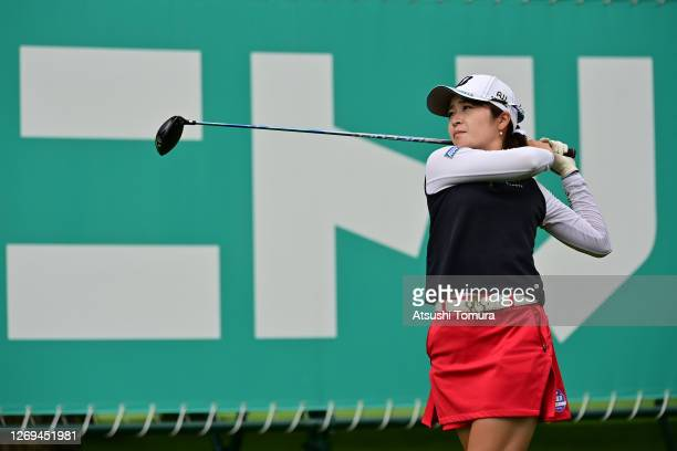 Kana Mikashima of Japan hits her tee shot on the 14th hole during the third round of the Nitori Ladies Golf Tournament at the Otaru Country Club on...
