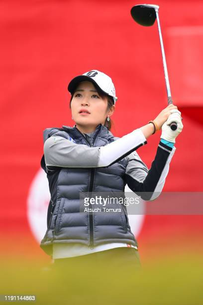 Kana Mikashima of Japan hits her tee shot on the 1st hole during the final round of the LPGA Tour Championship Ricoh Cup at Miyazaki Country Club on...