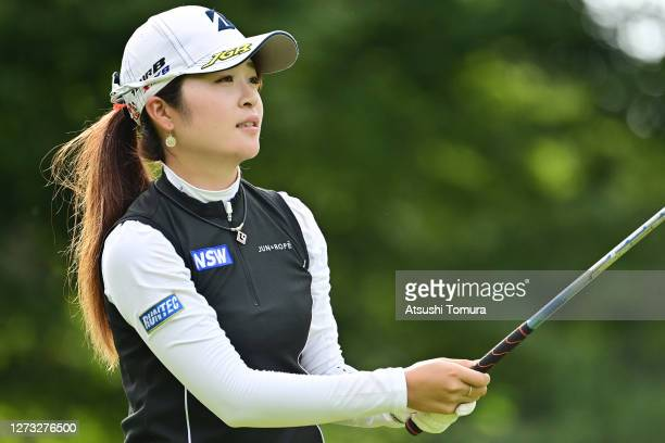 Kana Mikashima of Japan hits her tee shot on the 1st hole during the first round of the Descente Ladies Tokai Classic at the Shin Minami Aichi...