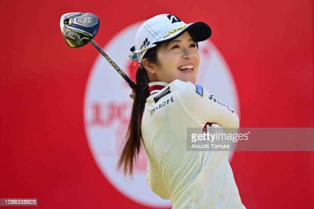 Kana Mikashima of Japan hits her tee shot on the 1st hole during the final round of the JLPGA Tour Championship Ricoh Cup at the Miyazaki Country...