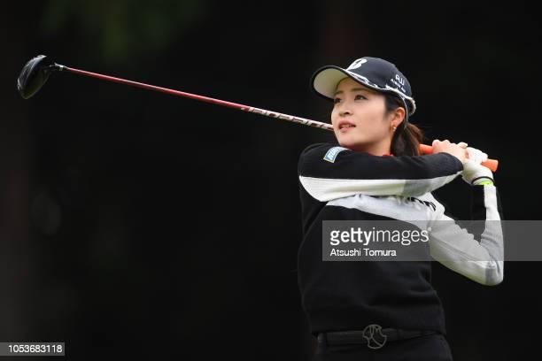 Kana Mikashima of Japan hits her tee shot on the 2nd hole during the first round of the Hisako Higuchi Mitsubishi Electric Ladies at Musashigaoka...