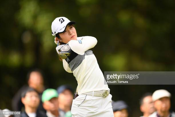 Kana Mikashima of Japan hits her tee shot on the 2nd hole during the final round of Fujitsu Ladies at Tokyu Seven Hundred Club on October 20 2019 in...