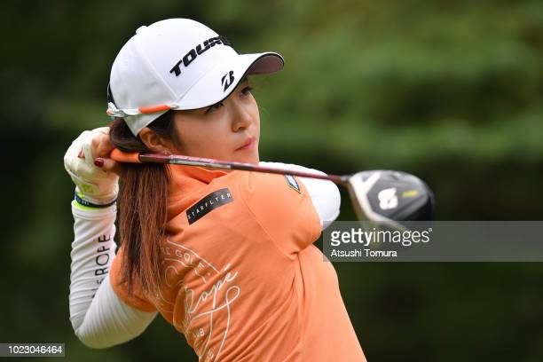 Kana Mikashima of Japan hits her tee shot on the 6th hole during the third round of the Nitori Ladies at Otaru Country Club on August 25 2018 in...