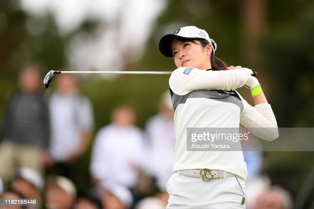 Kana Mikashima of Japan hits her tee shot on the 8th hole during the final round of Fujitsu Ladies at Tokyu Seven Hundred Club on October 20 2019 in...