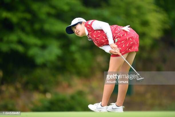 Kana Mikashima of Japan holes the birdie putt on the 17th green during the second round of the Yonex Ladies Golf Tournament at Yonex Country Club on...